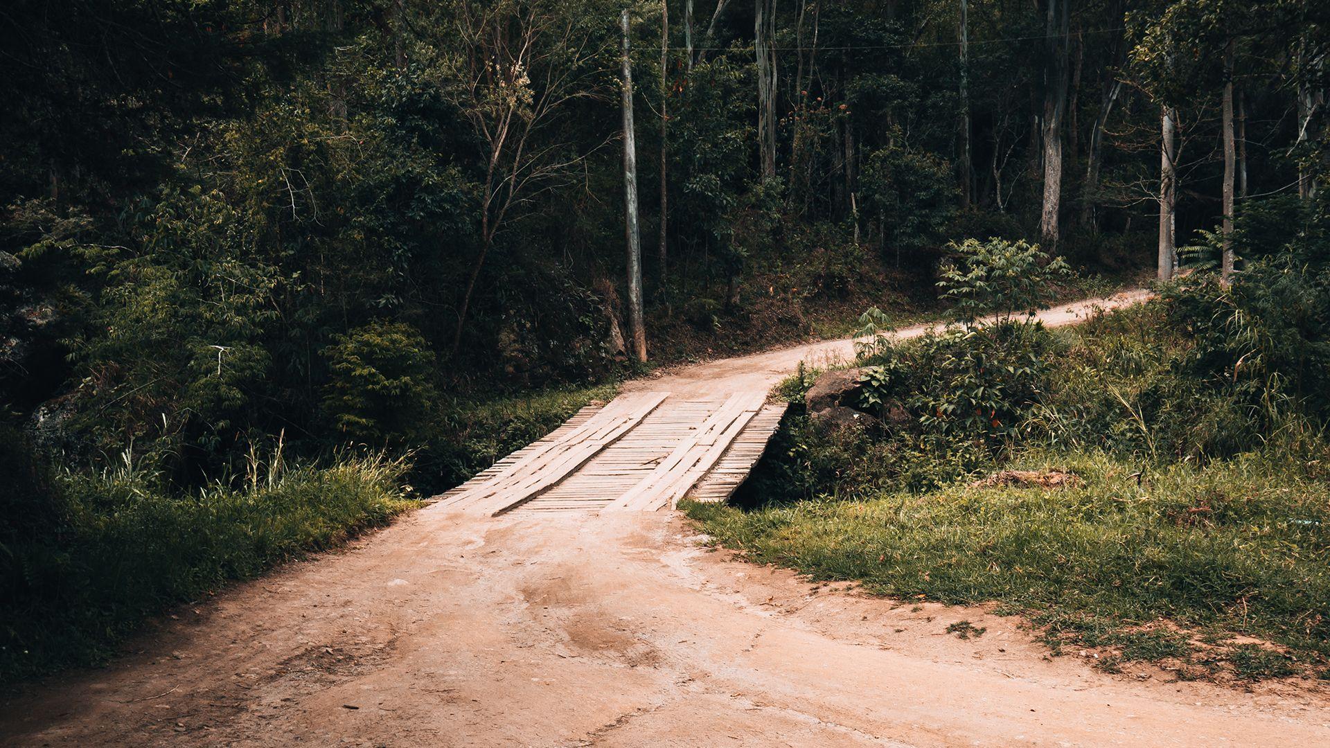 Ponte de madeira em estrada